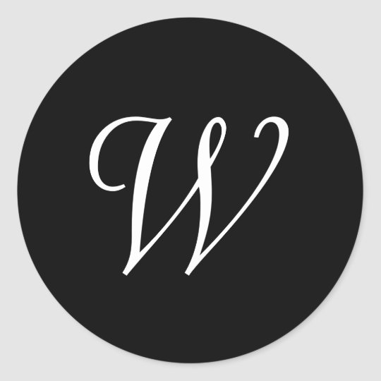 W Cursive Wedding Monogram Black White Stickers Zazzle Com