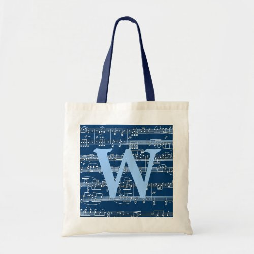 W custom initial  musical notes tote bag
