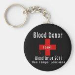W-descensos del donante de sangre 2011 llaveros personalizados