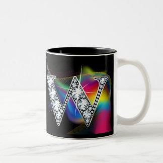 """W"" Diamond Bling on Rainbow Swirl Mug"