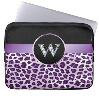 "W ""Diamond"" Purple Leopard & Ribbon Electronics Laptop Sleeve"