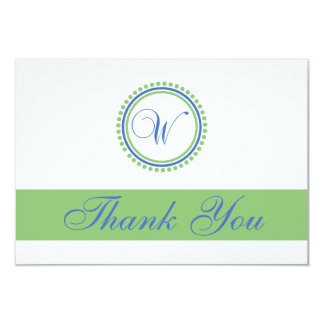 W Dot Circle Monogam Thank You Cards (Blue / Mint)