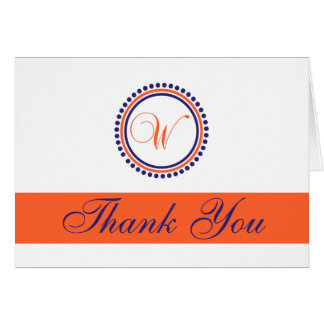 W Dot Circle Monogam Thank You (Orange/Navy Blue) Card