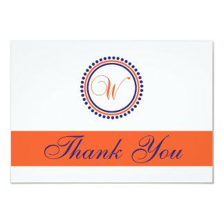 W Dot Circle Monogam Thank You (Orange/Navy Blue) Card