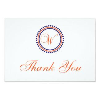 W Dot Circle Monogam Thank You (Orange/Navy Blue) 3.5x5 Paper Invitation Card