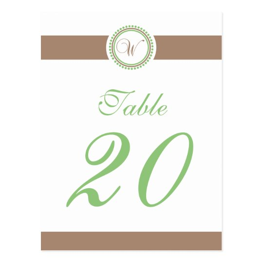 W Dot Circle Monogram Table Number (Mint / Brown) Postcard