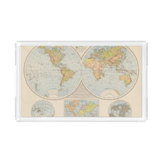 W, E Halbkugel World Map Acrylic Tray