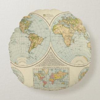 W, E Hemispheres Round Pillow