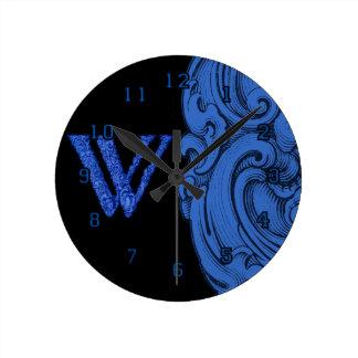 W - El alfabeto de Falck (azul) Relojes De Pared