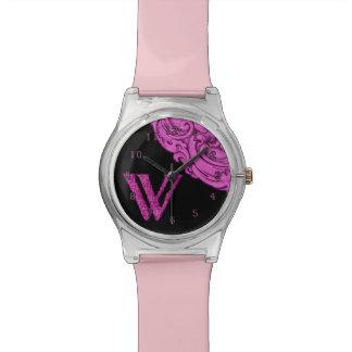 W - El alfabeto de Falck (rosa) Reloj De Mano