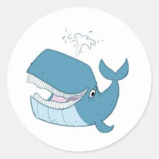 W está para la ballena pegatina redonda