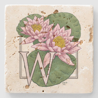 W for Water Lilies Flower Monogram Stone Coaster