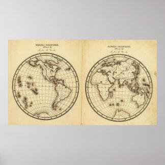 W Hemisphere, E Hemisphere 2 Print