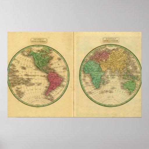 W Hemisphere, E Hemisphere Poster