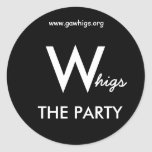 W, higs, THE PARTY, www.gawhigs.org Stickers