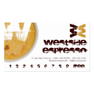 W - Initial Letter Foamy Coffee Cup Loyalty Punch Business Card
