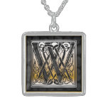 "W Initial Monogram ""Celtic Black Stone"" Necklaces"