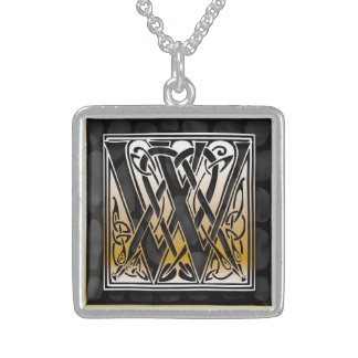 "W Initial Monogram ""Celtic Black Stone"" Necklaces"