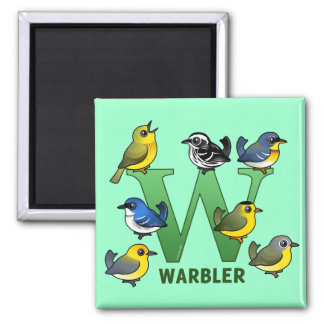 W is for Warbler 2 Inch Square Magnet