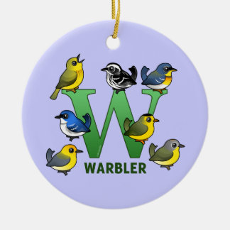 W is for Warbler Ceramic Ornament