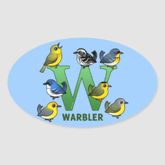 W is for Warbler Oval Sticker