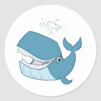 W is for Whale Classic Round Sticker