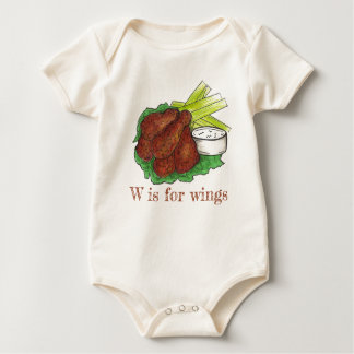 W is for Wings BBQ Buffalo Chicken Wing Alphabet Baby Bodysuit