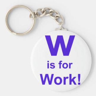 W is for Work Basic Round Button Keychain