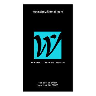 W Letter Alphabet Business Card Blue Black