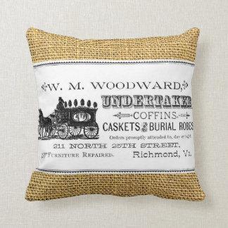 W.M. Woodward, Undertaker on Faux Burlap Throw Pillow