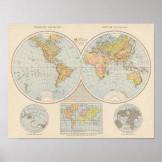 W, mapa del mundo de E Halbkugel Póster