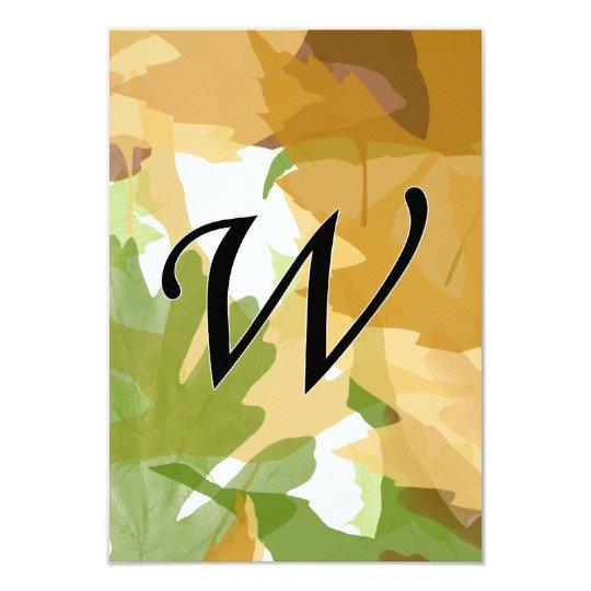 W Monogram Autumn Leaves Card