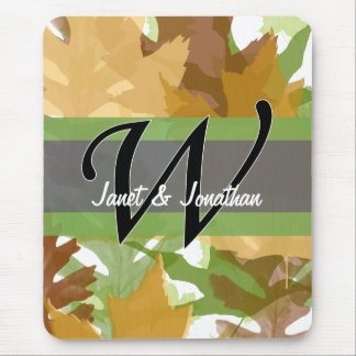 W Monogram Autumn Leaves Mouse Pad