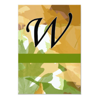 W Monogram Autumn Leaves with Green Announcements