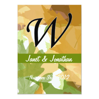 W Monogram Autumn Leaves with Green Personalized Invitation