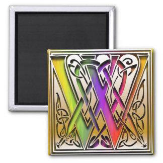 """W Monogram """"Celtic Rainbow"""" Square Magnet"""