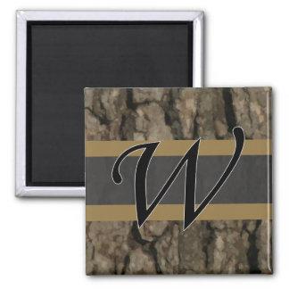 W Monogram Dark Bark1 Painterly 2 Inch Square Magnet