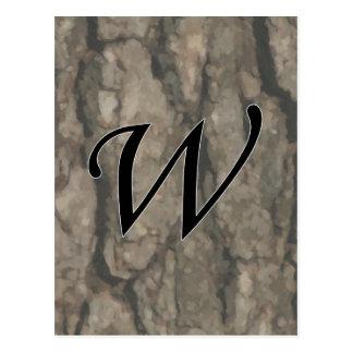 W Monogram Dark Bark1 Painterly Postcard