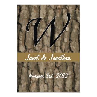 W Monogram Dark Bark 2 Painterly 5x7 Paper Invitation Card
