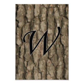 W Monogram Dark Bark 2 Painterly Personalized Announcements