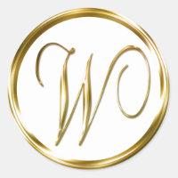 W Monogram Faux Gold Envelope Or Favor Seal