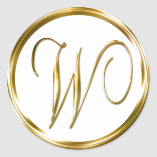 W Monogram Faux Gold Envelope Or Favor Seal Classic Round Sticker