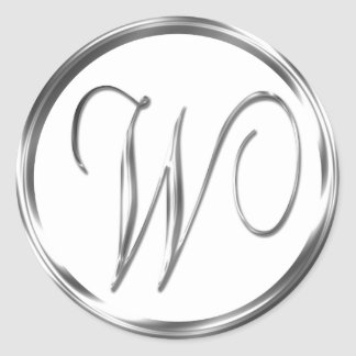 W Monogram Faux Silver Envelope Or Favor Seal Classic Round Sticker