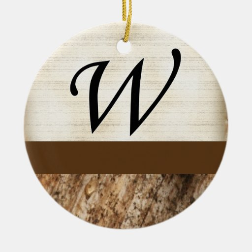 W Monogram Parchment and Dark Bark Double-Sided Ceramic Round Christmas Ornament