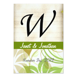 W Monogram Parchment and Green and Beige Floral Invitations