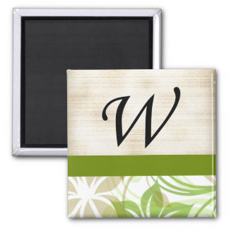 W Monogram Parchment and Green and Beige Floral Refrigerator Magnets