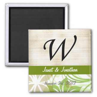 W Monogram Parchment and Green and Beige Floral Fridge Magnet