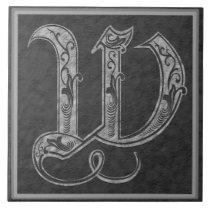 "W Monogram ""Royal Grey Stone"" Ceramic Tile"