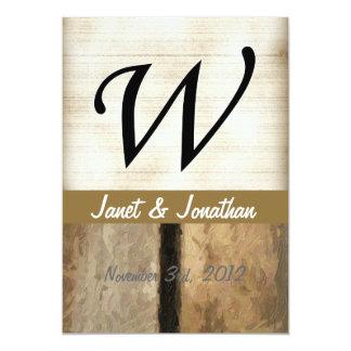 w Monogram Vertical Boards 5x7 Paper Invitation Card