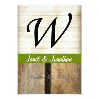 W Monogram vertical boards Impasto 5x7 Paper Invitation Card